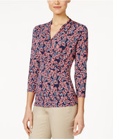 Charter Club Printed Crossover Top, Only at Macy's
