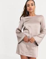 Asos Design DESIGN long sleeve satin shift mini dress in washed satin