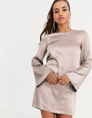 ASOS DESIGN long sleeve satin shift mini dress in washed satin