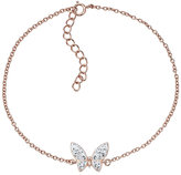 Evoke Rose Gold Plated Crystal Butterfly Bracelet