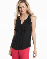 White House Black Market Black Ruffle-Front Shell Top