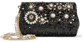 Dolce & Gabbana Embellished Sequined Leather Shoulder Bag - Black