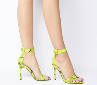 Office Heart Two Part Sandals Fluro Lime Snake Leather