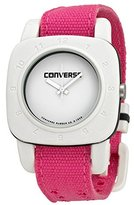 Converse VR021690 1908 Regular Square White Analog Dial and Pink Canvas Pull Through Strap Watch