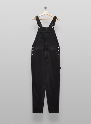 Topman Washed Black Denim Dungarees