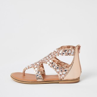 River Island Girls Pink embellished toe thong sandals