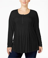 Style&Co. Style & Co. Plus Size Pintucked Henley Top, Only at Macy's