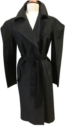 Lanvin Black Silk Trench Coat for Women