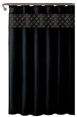 Kashi Virginia 18-Piece Shower Curtain Set, Black