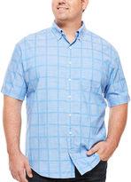 Izod Short-Sleeve Windowpane Chambray Shirt - Big & Tall