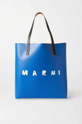 Marni Printed Leather-trimmed Coated-pvc Tote - Blue