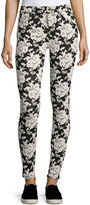 7 For All Mankind Floral-Embroidered Skinny Jeans, Black