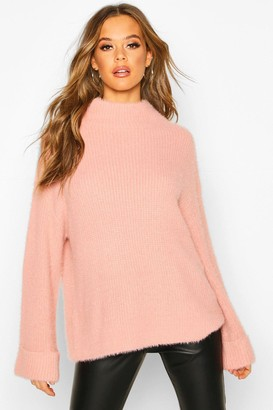 boohoo Turn Up Cuff High Neck Fluffy Sweater
