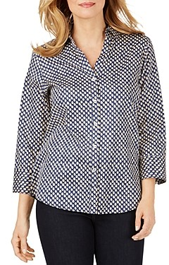 Foxcroft Mary Wrinkle-Free Dot Print Shirt