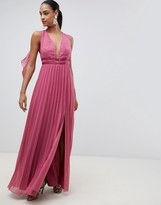 Asos DESIGN maxi dress in pleat with tape detail