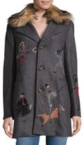 RED Valentino Faux-Fur Trimmed Coat