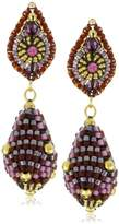 Miguel Ases Swarovski and Rubellite Beaded Ball Drop Earrings