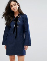 The English Factory Denim Velvet Lace Up Dress