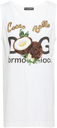 Dolce & Gabbana Embellished Printed Cotton-jersey Tank