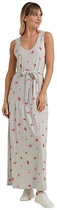 Lucky Brand Sleeveless Crew Neck Eliza Belted Maxi Dress (Heather Grey Multi) Women's Clothing