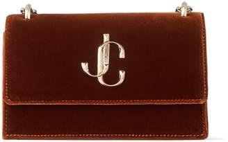 Jimmy Choo BOHEMIA Rust Velvet Mini Bag with Chain Strap