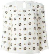 Diane von Furstenberg embellished three-quarters sleeve blouse - women - Silk/Viscose/Polyester - 8