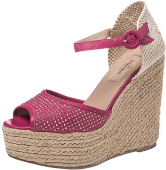 Valentino Pink Studded Leather And Woven Jute Espadrille Wedge Platform Ankle Strap Sandals Size 37