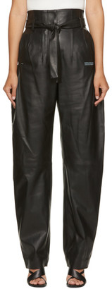 Off-White Black Leather Paperbag Trousers