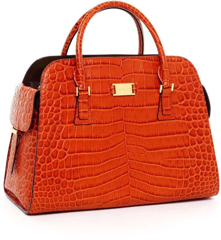 Michael Kors Gia Crocodile-Embossed Leather Satchel, Tangerine