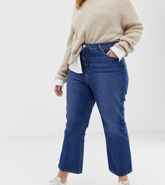 Asos DESIGN Curve Egerton rigid cropped flare jeans in dark vintage wash-Blue
