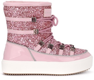 Chiara Ferragni Snow Boots In Paint Leather And Pink Glitter