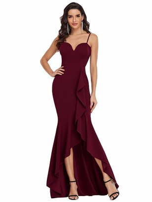 Ever Pretty Ever-Pretty Women's Sweetheart Neck with Spaghetti Straps Sexy High Low Mermaid Prom Evening Dresses Burgundy 8UK