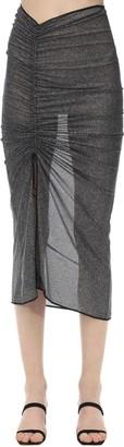 Oseree Draped Lurex Midi Skirt