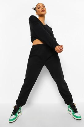 boohoo V Neck Crop Sweater And Joggers Set