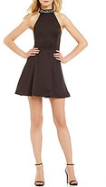 Teeze Me Beaded Mock Neck Scuba Skater Dress