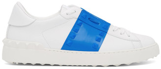 Valentino White and Blue Garavani Rockstud Untitled Sneakers