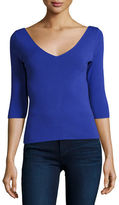 Milly Claire 3/4-Sleeve V-Neck Knit Top