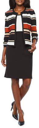 Studio 1 3/4 Sleeve Striped Jacket Dress