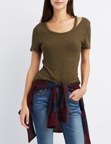 Charlotte Russe Ribbed Cut-Out Neck Skimmer Tee