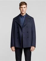 Calvin Klein Collection Double Face Wool Herringbone Pea Coat