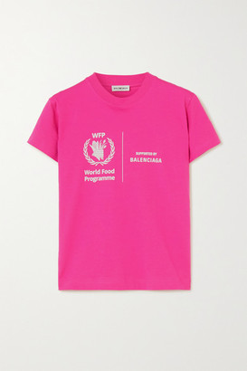 Balenciaga + World Food Programme Printed Cotton-jersey T-shirt - Pink