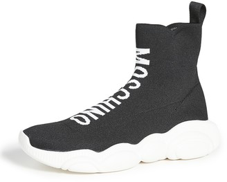 Moschino High Top Logo Sock Sneakers