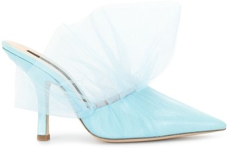 Midnight 00 Tulle High-Heeled Mules