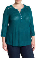Lucky Brand Textured Crochet Lace Henley (Plus Size)