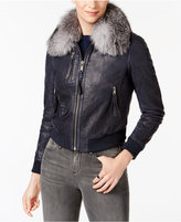 Andrew Marc Fox-Fur Collar Leather Moto Jacket