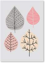 Americanflat Leaves Print Art, Pink, Print Only