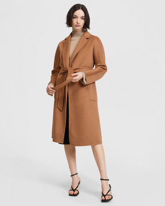 ARIS - Women's Brown Winter Coats - Double Face Belted Coat - Size One Size, XS at The Iconic