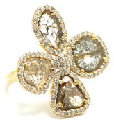 Tresor Collection - Organic Diamond Flower Ring with White Diamond Pave Frame set in 18k Yellow Gold