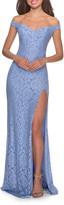 La Femme Off-the-Shoulder Rhinestone Embellished Lace Gown