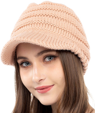 Kollie More Women's Beanies Pink - Pink Rib-Knit Brimmed Beanie - Women